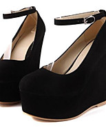 Women's Heels Comfort Fall Nubuck leather PU Office & Career Black Blue Almond 5in & over