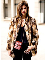 Women's Going out Casual/Daily Simple Fall Winter Fur Coat,Leopard Round Neck Long Sleeve Regular Faux Fur Acrylic