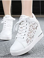 Women's Sneakers Comfort Spring Summer Tulle Casual Silver White 2in-2 3/4in