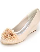 Feminino Sapatos De Casamento Plataforma Básica Primavera Verão Cetim Casamento Festas & Noite Flor AnabelaRoxo Vermelho Azul Champanhe