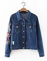 Feminino Jaqueta jeans Esportes Para Noite Simples Primavera Outono,Estampado Padrão Outros Colarinho de Camisa Manga Longa Bordado