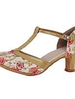 Women's Latin Silk Heels Indoor Buckle Customized Heel Gold 1