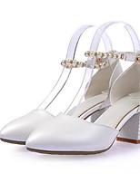 Women's Shoes PU Spring Summer Comfort Heels For Casual White Blushing Pink