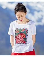 YOUJIN Women's Casual/Daily Simple T-shirtSolid Floral Round Neck Short Sleeve Cotton