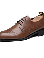 Men's Oxfords Comfort Novelty Synthetic Microfiber PU Spring Fall Wedding Office & Career Party & Evening Walking Lace-up Flat HeelDark