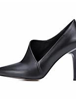 Для женщин Обувь на каблуках Туфли лодочки Натуральная кожа Полиуретан Весна Осень Повседневные Черный 7 - 9,5 см