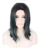 Парики из искусственных волос Без шапочки-основы Короткий Зеленый Парик из натуральных волос Карнавальные парики