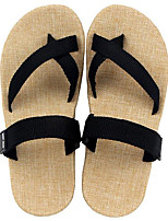 Men's Slippers & Flip-Flops Comfort Linen Summer Casual Khaki Ruby Black Flat