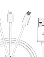 USB 2.0 Câble, USB 2.0 to USB 2.0 Type C Micro USB 2.0 Lightning Câble Male - Male 1.0m (3ft)