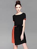 Для женщин На каждый день Простое Оболочка Платье Контрастных цветов Пэчворк,Круглый вырез Средней длины С короткими рукавами Полиэстер