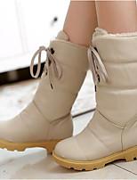 Feminino Sapatos Couro Ecológico Inverno Conforto Botas Para Casual Bege