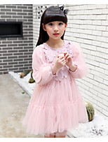 Girl's Solid Dress,Cotton Polyester Spring Fall ¾ Sleeve