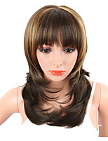 Synthetic Women's Wavy Wig Brown Mix Blonde Color Naturally African American Hair With Bangs  Heat Resistant Middle Length Natural Wave Capless Wig