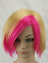 Woman  Synthetic Short Straight Middle Part Bobo Wig Blonde Pink Double Color Mixed Party Wigs
