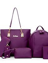 Women Bag Sets PU All Seasons Casual Sports Outdoor Office & Career Round Zipper Zipper Fuchsia Purple Black Blue