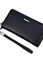 Men Checkbook Wallet PU All Seasons Office/Career Shopping Formal Rectangle Zipper Dark Coffee Coffee Black