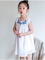Robe Fille de Couleur Pleine Brodée Coton