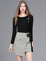 YHSPWomen's Going out Casual/Daily Simple Active Street chic Fall T-shirt Skirt SuitsSolid Grid/Plaid Round Neck Long Sleeve Micro-elastic