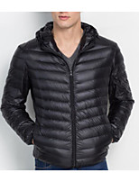 Men's Regular Down Coat,Simple Casual/Daily Solid-Cotton Cotton Long Sleeve