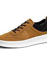Men's Sneakers Comfort Light Soles Spring Fall Leather PU Casual Lace-up Flat Heel Black Yellow Flat