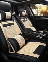 The New Car Seat Cushion Leather Seat Cover Four Seasons General Ice All Around Five Seats To 2 Seat Headrest Backrest Black Beige