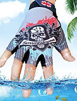 Men's Cotton Nylon Wrist Length Half Finger Soak Off Outdoor Sports Skull Print Spring/Fall Summer Cycling Bike Gloves Red/Blue/Grey/Pink