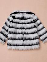 Girls' Stripe Jacket & Coat,Faux Fur Special Fur Types Winter Long Sleeve