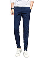 Men's Mid Rise Micro-elastic Chinos PantsSimple Straight Slim Solid UK-316