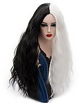 Mujer Pelucas sintéticas Sin Tapa Largo Suelto Negro/Blanco Peluca natural Peluca de fiesta Peluca de Halloween Peluca de carnaval Las