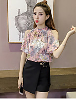 Women's Going out Casual/Daily Cute Summer Blouse,Floral Stand Short Sleeve Others