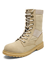Men's Boots Comfort Fall Winter Canvas Fleece Casual Outdoor Office & Career Split Joint Flat Heel Gray Beige Black Flat