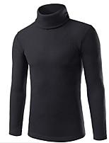 Standard Pullover Da uomo-Per uscire Casual Moda città Tinta unita A collo alto Manica lunga Poliestere Autunno Inverno Spesso