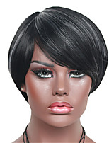 Short Black Mix White Straight Wig for Women Costume Cosplay Synthetic Wigs