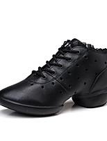 Для женщин Танцевальные кроссовки Натуральная кожа Кроссовки Для открытой площадки Кружева Сторонняя полые из Плоские Черный 2,5 - 4,5 см