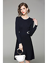 QIN QIN Women's Casual/Daily Sheath Dress,Solid Color Block Round Neck Knee-length Long Sleeves Cotton Fall Mid Rise Micro-elastic Medium