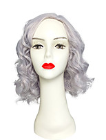 Capless Deep Wave Short Wig Purple Synthetic Fiber Heat Resistant Hair Costume Wig