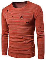 Men's Casual/Daily Simple Long Pullover,Solid Round Neck Long Sleeves Cotton Spring Winter Medium Micro-elastic