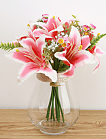 1 Pièce 1 Une succursale Soie Polyester Lis Fleur de Table Fleurs artificielles