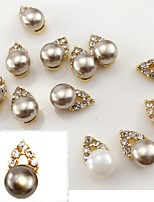5PCS 11mmX5mm Fashion  Pearl Inlay  Alloy Accessories Nail Art Decoration Jewelry Charms