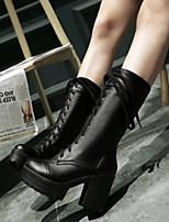 Damen Schuhe Nubukleder PU Frühling Herbst Komfort Stiefel Für Normal Weiß Schwarz