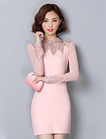 Для женщин На каждый день Большие размеры Уличный стиль Оболочка Платье Контрастных цветов,Круглый вырез Выше колена Длинный рукав