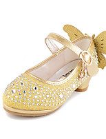 Girls' Flats Comfort Novelty Flower Girl Shoes Fall Winter Leatherette Casual Dress Crystal Flat Heel Blushing Pink Silver Gold Flat