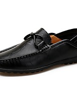 Для мужчин Мокасины и Свитер Удобная обувь Весна Осень Полиуретан Повседневные Бант Рюши На плоской подошве Черный Коричневый На плоской