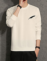 Men's Plus Size Casual Slim Feather Embroidery Printed Sweatshirts Cotton Spandex