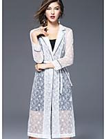 Feminino Casaco Longo Para Noite Moda de Rua Inverno,Sólido Longo Poliéster Colarinho de Camisa Manga Longa