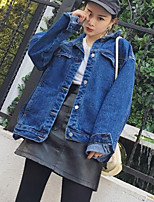 Women's Casual/Daily Simple Spring Fall Denim Jacket,Print Shirt Collar Long Sleeve Regular Others