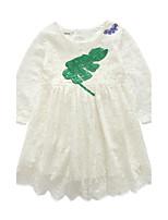 Девичий Платье Хлопок Однотонный Осень Длинный рукав
