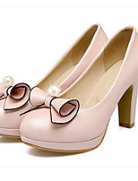 Women's Shoes PU Spring Fall Comfort Heels For Casual White Light Pink