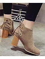 Для женщин Ботинки Удобная обувь Модная обувь Армейские ботинки Натуральная кожа Полиуретан Зима Повседневные Черный Хаки 4,5 - 7 см
