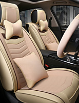 The New Leather Linen Car Seat Cushion Seat Cover Seat Four Seasons General Surrounded By A Five Seat Headrest Backrest To Send 2 Wheel Sets Beige